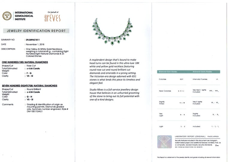 Studio Rêves Emerald and Diamonds Necklace in 18 Karat Gold For Sale 2