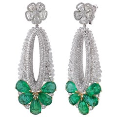 Studio Rêves Emerald and Rosecut Floral Oval Dangling Earrings in 18 Karat Gold