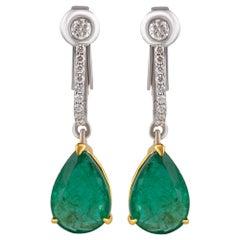 Studio Rêves Emerald Drop Dangling Earrings with Diamonds in 18 Karat Gold