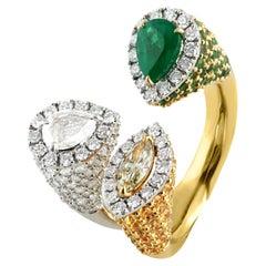Studio Rêves Emerald with Diamond Cocktail Ring in 18 Karat Gold