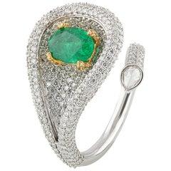 Studio Rêves Emeralds and Diamonds Drop Cocktail Ring in 18 Karat Gold
