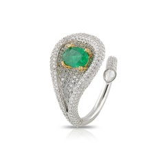 Studio Rêves Emeralds and Diamonds Drop Cocktail Ring in 18K Gold