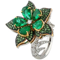 Studio Rêves Emeralds and Diamonds Floral Cocktail Ring in 18 Karat Gold