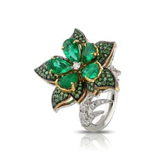 Studio Rêves Emeralds and Diamonds Floral Cocktail Ring in 18K Gold
