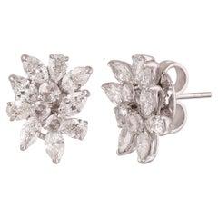 Studio Rêves Fancies Rose Cut Round Diamond Cluster Stud Earrings in 18K Gold
