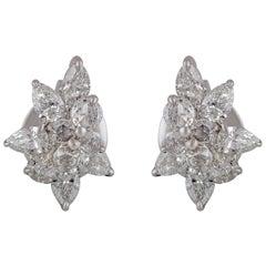 Studio Rêves Fancy Cluster Contemporary Stud Earrings in 18 Karat White Gold