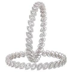 Studio Rêves Fancy Diamond Bangles in 18 Karat White Gold