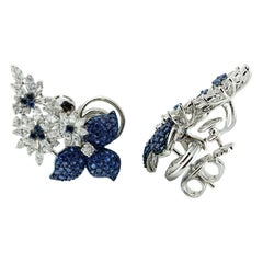 Studio Rêves Floral Diamond and Blue Sapphire Ear Cuffs in 18 Karat Gold