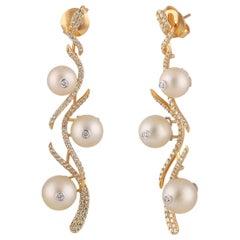 Studio Rêves Floral Diamond and Pearl Dangling Earrings in 18 Karat Gold