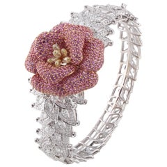 Studio Rêves Floral Diamond and Pink Sapphire Cuff Bracelet in 18 Karat Gold