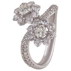 Studio Rêves Floral Diamond Cluster Ring in 18 Karat Gold