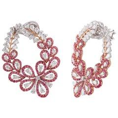 Studio Rêves Floral Pink Sapphire and Diamond Stud Earrings in 18 Karat Gold