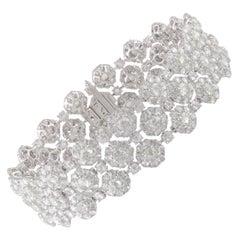 Studio Rêves Floral Rose Cut Diamond Bracelet in 18 Karat Gold