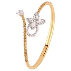 Studio Rêves Floral Rosecut Diamonds Spring Bracelet in 18 Karat Gold