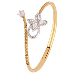 Studio Rêves Floral Rosecut Pear Spring Bracelet in 18 Karat Gold