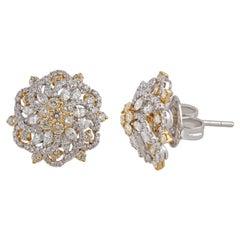 Studio Rêves Floral Stud Earrings in Diamonds and 18 Karat Gold