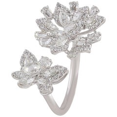 Studio Rêves Floret Fashion Diamond Ring in 18 Karat White Gold