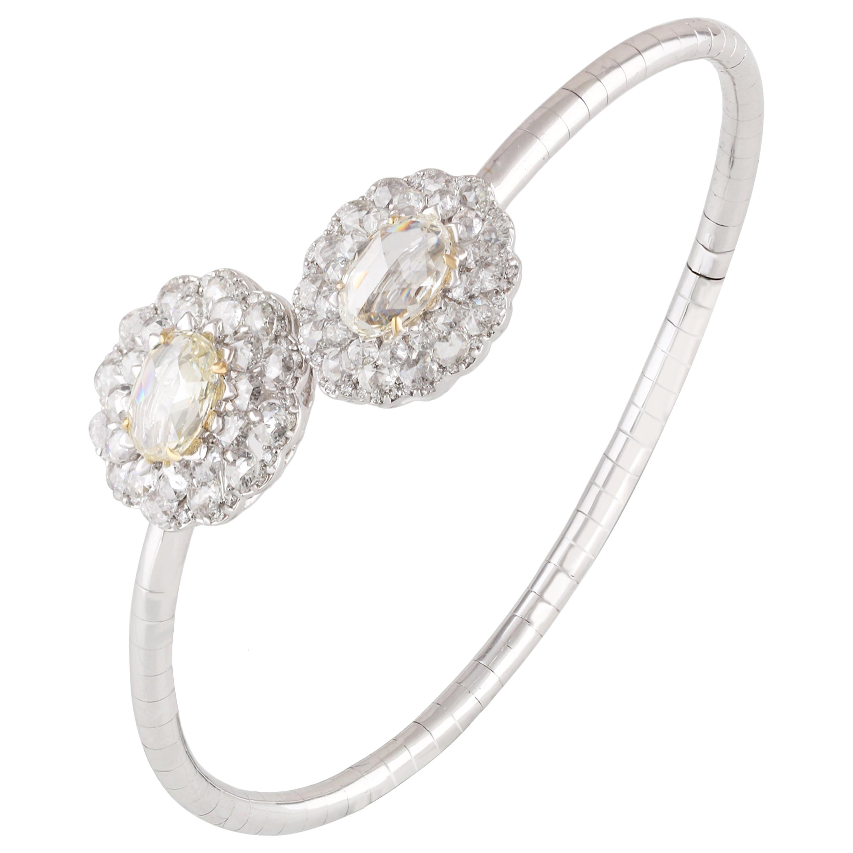 Studio Rêves Floret Rose Cut Diamond Bracelet in 18 Karat Gold