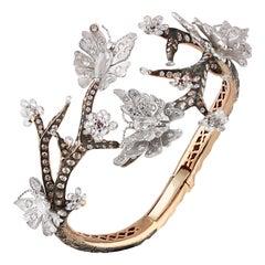 Studio Rêves Handcrafted Diamond Butterfly Bracelet in 18 Karat Gold