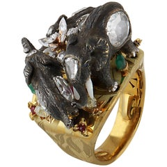 Studio Rêves Handcrafted Giant Elephant Cocktail Ring in 18 Karat Gold