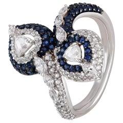 Studio Rêves Heart Rose Cut Diamonds and Blue Sapphire Ring in 18 Karat Gold