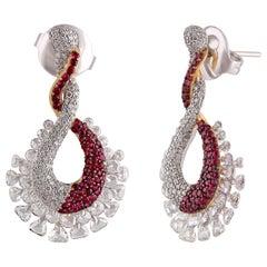 Studio Rêves Infinity Loop Dangling Earrings with Diamond and Ruby in 18K Gold