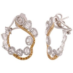 Studio Rêves Infinity Loop Studded Diamond Earrings in 18 Karat Gold