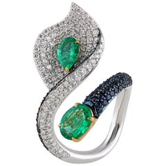 Studio Rêves Leaf Cocktail Ring in 18 Karat Gold with Diamonds and Emeralds