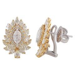 Studio Rêves Marquise and Pear Diamonds Stud Earrings in 18 Karat Gold