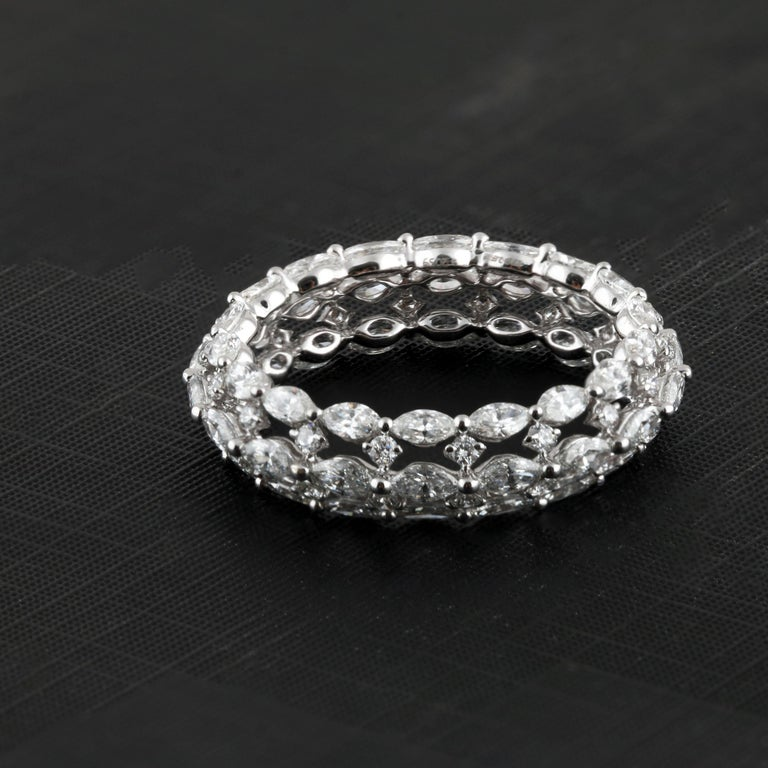 Studio Rêves Marquise and Round White Diamond Band in 18 Karat White Gold For Sale 2