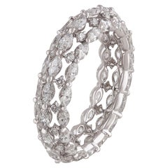 Studio Rêves Marquise and Round White Diamond Band in 18 Karat White Gold