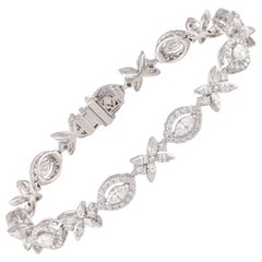 Studio Rêves Marquise Brilliant Cut Diamond Tennis Bracelet in 18 Karat Gold