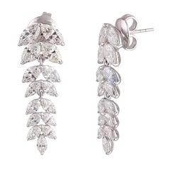 Studio Rêves Marquise Diamond Delight Dangling Earrings in 18 Karat White Gold