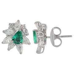 Studio Rêves Marquise Diamond with Emerald Pear Stud Earrings in 18 Karat Gold