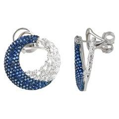 Studio Rêves Marquise Diamonds and Blue Sapphire Earrings in 18 Karat Gold