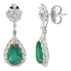 Studio Rêves Marquise Diamonds Dangling Earrings in 18K Gold with Emerald Pears