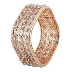 Studio Rêves Marquise Diamonds Filigree Bangle Bracelet in 18 Karat Gold