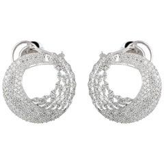 Studio Rêves Marquise Diamonds Hoop Earrings in 18 Karat White Gold