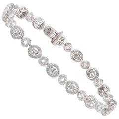 Studio Rêves Mosaic Marquise and Round Diamond Tennis Bracelet in 18 Karat Gold