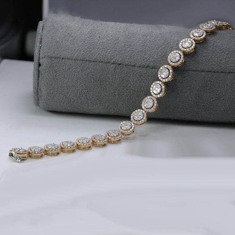 Women's Studio Rêves Mosaic Marquise Diamond Tennis Bracelet in 18 Karat Gold For Sale