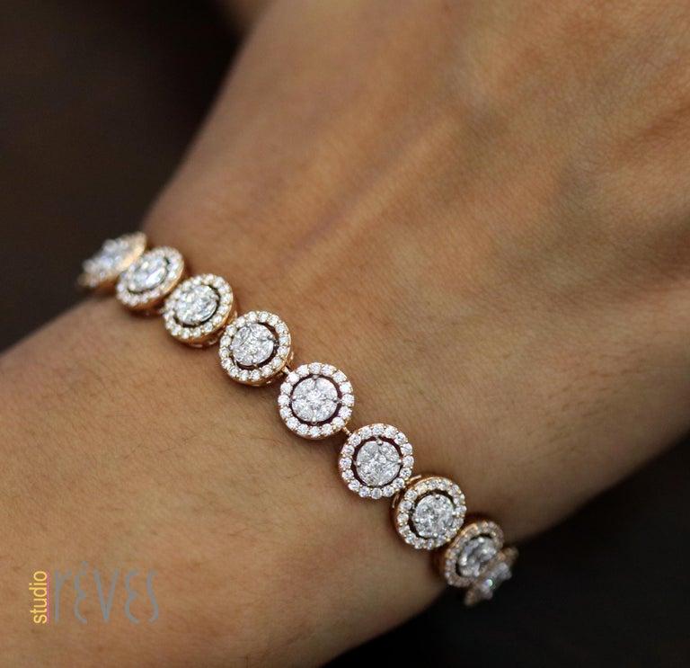 Studio Rêves Mosaic Marquise Diamond Tennis Bracelet in 18 Karat Gold For Sale 1