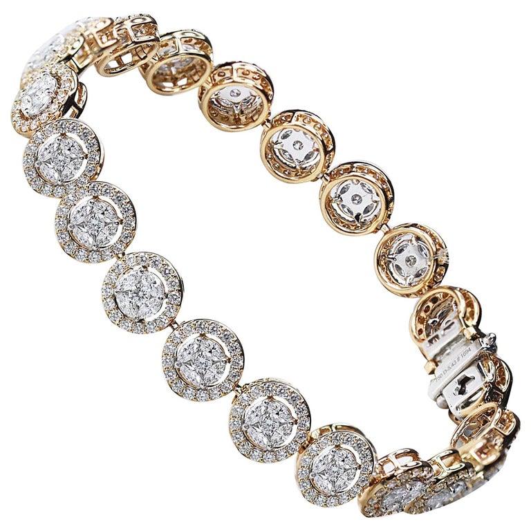 Studio Rêves Mosaic Marquise Diamond Tennis Bracelet in 18 Karat Gold For Sale