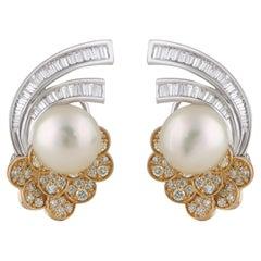 Studio Rêves Ocean Inspired Diamond and Pearl Stud Earrings in 18 Karat Gold