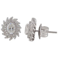 Studio Rêves Oval and Marquise Diamond Stud Earrings in 18 Karat White Gold