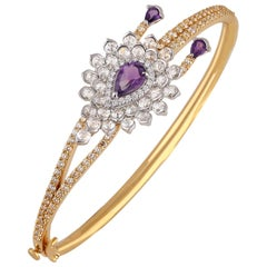 Studio Rêves Pear Cut Amethyst and Diamond Bracelet in 18 Karat Gold