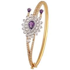 Studio Rêves Pear Cut Amethyst and Diamond Bracelet in 18 Karat Gold