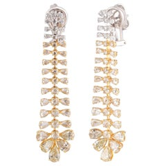 Studio Rêves Pear Diamond Dangling Earrings in 18 Karat Gold
