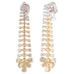 Studio Rêves Pear Diamond Dangling Earrings in 18 Karat Gold