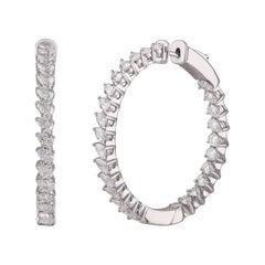 Studio Rêves Pear Diamond Hoop Earrings in 18 Karat White Gold
