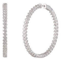 Studio Rêves Pear Diamond Studded Hoop Earrings in 18 Karat White Gold